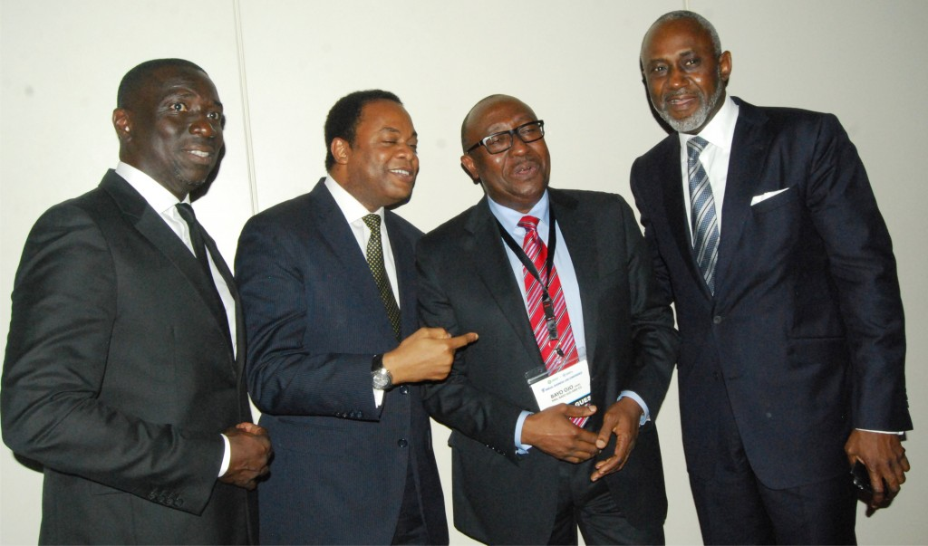 SBL Chairman, Asue Ighodalo, Former Gov. of Cross River State, Donald Duke, Chief Bayo Ojo, SAN, and former SBL Chairman, Gbenga Oyebode, MFR, during the 2015 SBL Conference in Lagos.