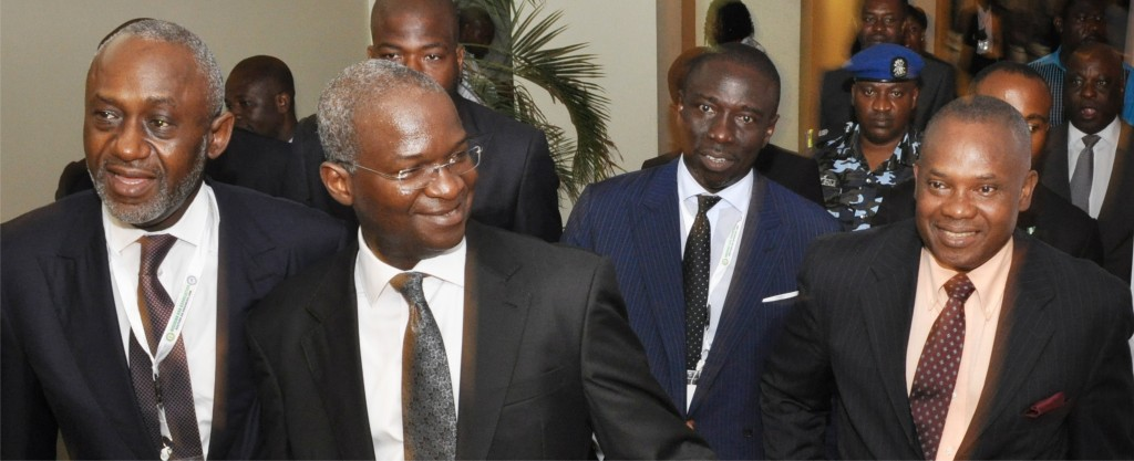 Former SBL Chairman, Gbenga Oyebode, MFR, Babatunde Raji Fashola, SAN, SBL Chairman, Asue Ighodalo, and the founding Chairman of NBA-SBL, George Etomi, during the 2014 SBL Annual Business Conference at the Eko Hotel & Suites, Lagos