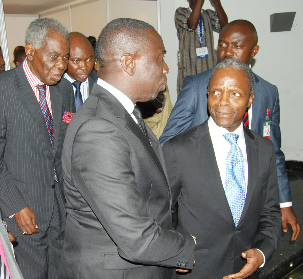 Chief Ernest Shonekan, GCFR, Asue Ighodalo, and the Vice President of Nigeria, Prof. Yemi Osinbajo, SAN, GCON, during the 2015 SBL Annual Conference in Lagos.