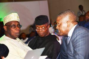 Chief Olusegun Obasanjo and Alhaji Aliko Dangote. Vice President Yemi Osinbajo is in the middle.