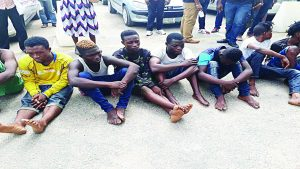 Some of the suspects paraded yesterday by the Lagos State Police Command