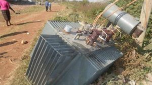 Electric transformer vandalised
