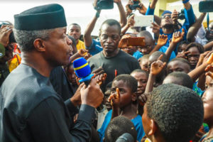Osinbajo in IDPs camp in Makurdi, Benue