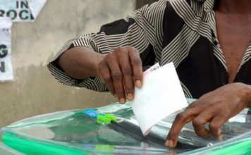 Nigerian voter at the polling booth
